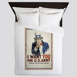 WWI US Army Uncle Sam I Want You Queen Duvet