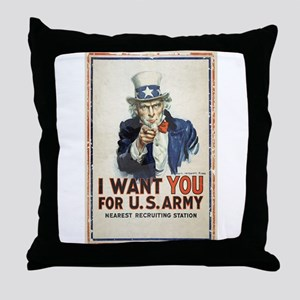 WWI US Army Uncle Sam I Want You Throw Pillow