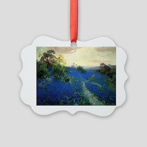 Onderdonk painting, Bluebonnet Fi Picture Ornament