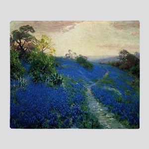 Onderdonk painting, Bluebonnet Field Throw Blanket