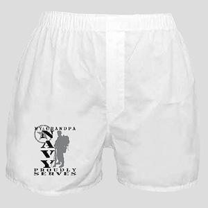 Grandpa Proudly Serves 2 - NAVY Boxer Shorts