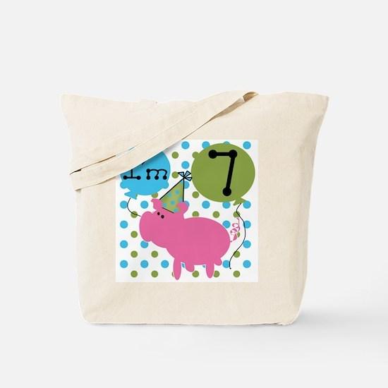 Pig 7th Birthday Tote Bag