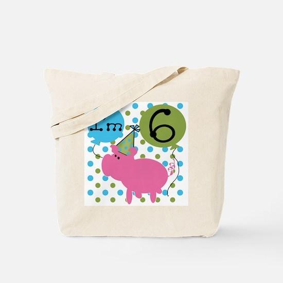 Pig 6th Birthday Tote Bag