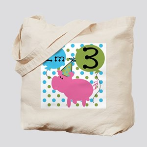Pig 3rd Birthday Tote Bag