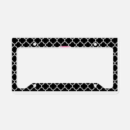 Black Pink Quatrefoil Personalized License Plate H