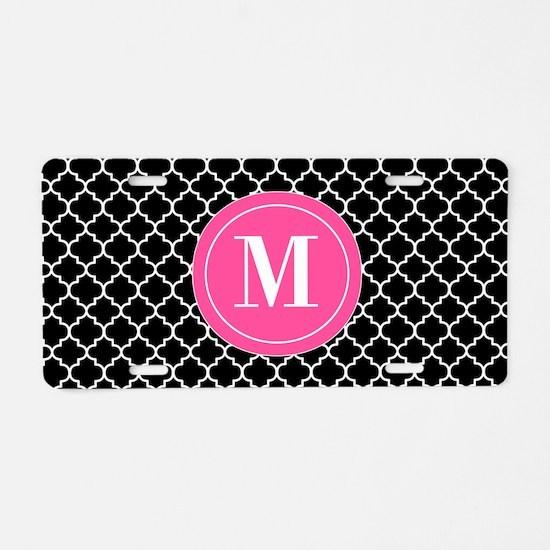 Black Pink Quatrefoil Personalized Aluminum Licens
