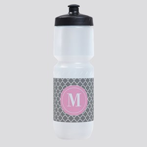 Black Pink Quatrefoil Personalized Sports Bottle