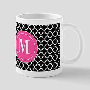 Black Pink Quatrefoil Personalized Mugs