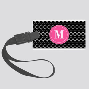 Black Pink Quatrefoil Large Luggage Tag