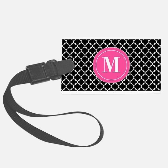 Black Pink Quatrefoil Luggage Tag
