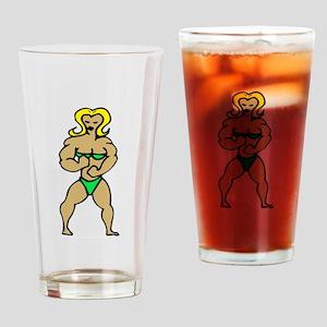 Female Bodybuilder Drinking Glass