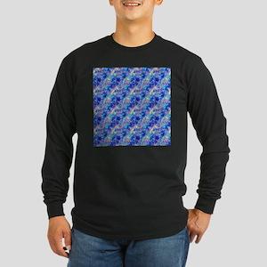 Azure Blue Crumpled Pattern Ma Long Sleeve T-Shirt