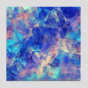 Azure Blue Crumpled Pattern Marble Tile Coaster