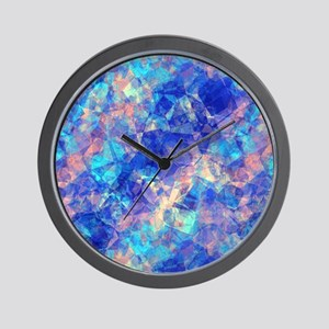 Azure Blue Crumpled Pattern Marble Wall Clock