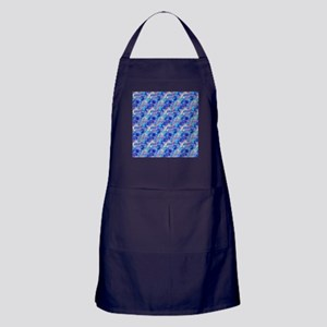 Azure Blue Crumpled Pattern Marble Apron (dark)