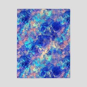 Azure Blue Crumpled Pattern Marble Twin Duvet