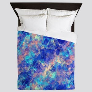 Azure Blue Crumpled Pattern Marble Queen Duvet
