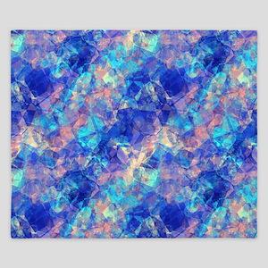 Azure Blue Crumpled Pattern Marble King Duvet
