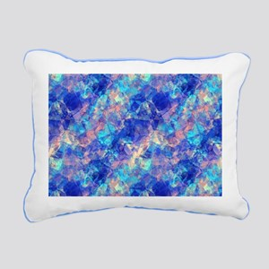 Azure Blue Crumpled Patt Rectangular Canvas Pillow