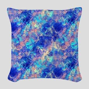 Azure Blue Crumpled Pattern Ma Woven Throw Pillow