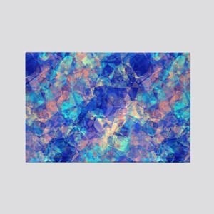 Azure Blue Crumpled Pattern Marble Magnets
