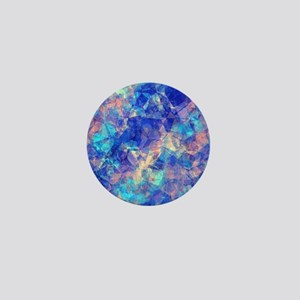 Azure Blue Crumpled Pattern Marble Mini Button