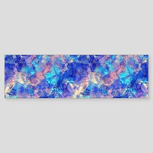 Azure Blue Crumpled Pattern Marble Bumper Sticker