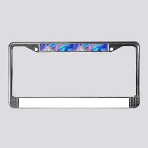 Azure Blue Crumpled Pattern Ma License Plate Frame