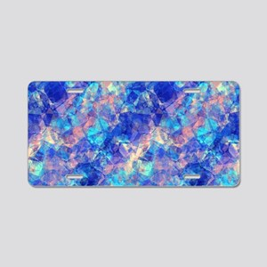 Azure Blue Crumpled Pattern Aluminum License Plate