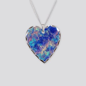 Azure Blue Crumpled Pattern M Necklace Heart Charm