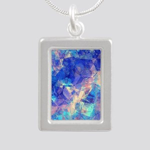 Azure Blue Crumpled Pattern Marble Necklaces