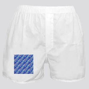 Azure Blue Crumpled Pattern Marble Boxer Shorts