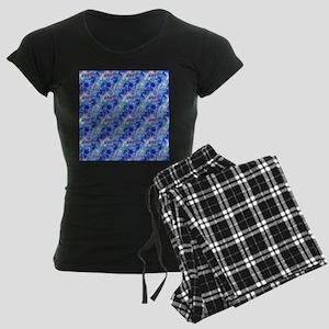 Azure Blue Crumpled Pattern Women's Dark Pajamas