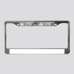Charcoal Grey Marble Crumpled License Plate Frame