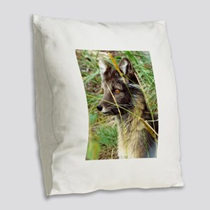 Watchful Fox Burlap Throw Pillow