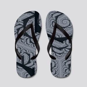 Textured Gray Swirl Pattern Flip Flops