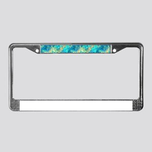 Turquise Crumpled Pattern Abst License Plate Frame
