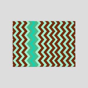 Mint Green Chocolate Bordered Zigzags 5'x7'Area Ru
