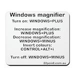 Windows Magnifier Commands Mousepad