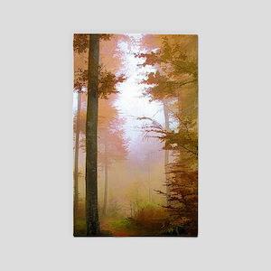 Foggy Autumn Forest Area Rug