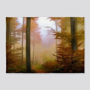 Foggy Autumn Forest 5'x7'Area Rug