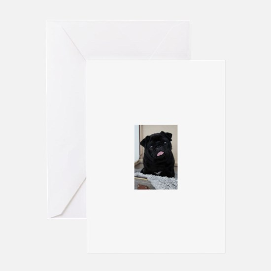 Black Pug Greeting Cards