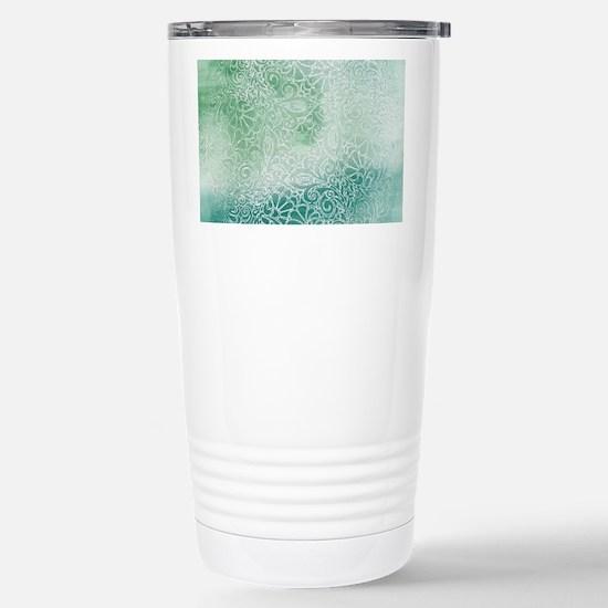 Pretty Aqua Blue Green Stainless Steel Travel Mug