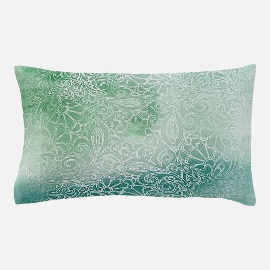 Pretty Aqua Blue Green Lace Design Pillow Case