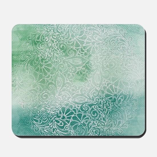 Pretty Aqua Blue Green Lace Design Mousepad