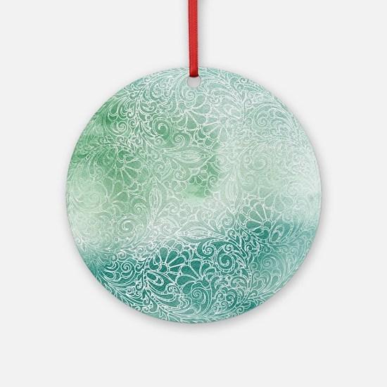 Pretty Aqua Blue Green Lace Design Round Ornament
