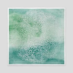 Pretty Aqua Blue Green Lace Design Queen Duvet