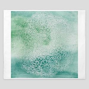 Pretty Aqua Blue Green Lace Design King Duvet