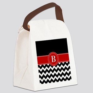 Black Red Chevron Monogram Canvas Lunch Bag