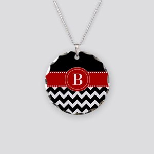 Black Red Chevron Monogram Necklace